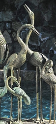 Brass Baron Crane Pair Fountain - Large Verdi