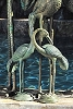Brass Baron Crane Pair Fountain - Small Verdi